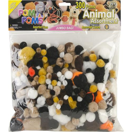 Pepperell Pom Poms Assorted Animals Colors and Sizes