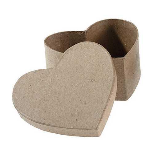 Paper Mache Box Heart 4.5 X 4.5 X 2 Inches