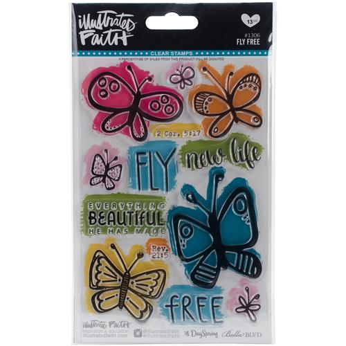 Illustrated Faith Clear Acrylic Stamps Fly Free