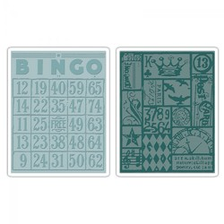 Sizzix Tim Holtz Texture Fades Alterations Collection Embossing Folders Bingo And Patchwork Set