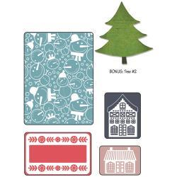 Sizzix Textured Impressions Embossing Folders With Bonus Sizzlits Die  Snowmen Set By Basicgrey