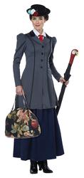 California Costumes Women's English Nanny Adult Costume Gray/Navy X-Small