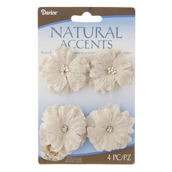 Floral Linen Flowers Light Natural 2 Inches