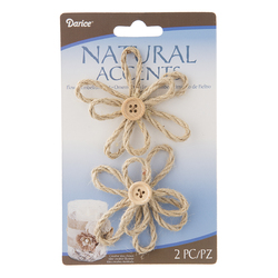 Floral Jute Flower With Button Light Natural 2.5 Inches