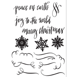 Sizzix Christmas Collection Clear Acrylic Stamps Seasonal Calligraphy