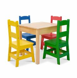 Category: Dropship Arts & Crafts, SKU #FC01302333, Title: Melissa & Doug Kids Furniture Wooden Table & 4 Chairs - Primary