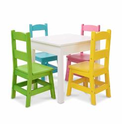 Category: Dropship Arts & Crafts, SKU #FC01302340, Title: Melissa & Doug Kids Furniture Wooden Table & 4 Chairs - Pastel
