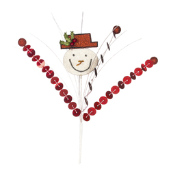 Christmas Pick With Snowman 12 Inches