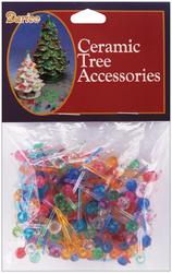 Ceramic Christmas Tree Accessories Medium Globe Pin Multi Color 0.25 Inch