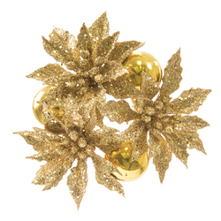 Ornament And Poinsettia Candle Ring Glitter Gold