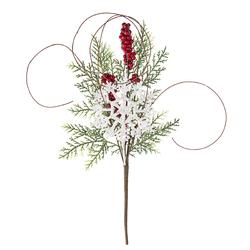 Christmas Pick Snow Flake Pine 12 Inches Window Box