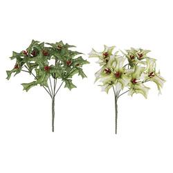 Chritmas Bush Holly X2Ast Green White 13 Inches