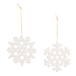Snowflake Christmas Ornament Ceramic White 4.13 Inches2 Assorted Styles