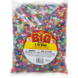Pony Beads 1 Pound Bag Assorted Pearlized 9mm