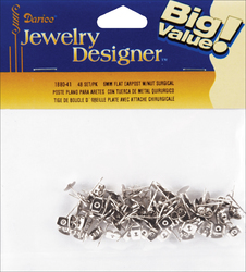 Flat Pad Earring Posts and Butterfly Clutches 6 mm Surgical Steel
