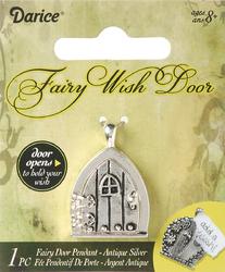 Fairy Door metal Charm Triangle Window Antique Silver