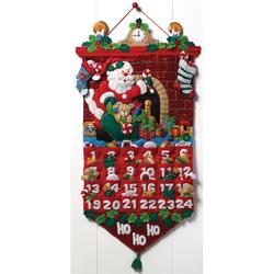 Category: Dropship Special Occasions, SKU #FC01863122, Title: Plaid Bucilla Advent Calendar Felt Applique Kit 13 X 25 inches Must Be Santa