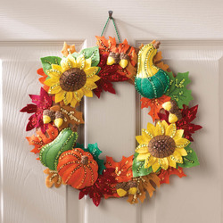 Category: Dropship Special Occasions, SKU #FC01864280, Title: Plaid Bucilla Felt Wreath Applique Kit 15 inches Round-Harvest Time