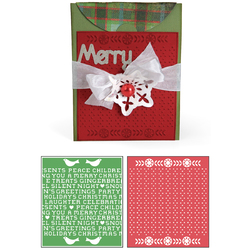 Sizzix Basic Grey Nordic Holiday Collection Bigz XL Die And Embossing Folder Card A2 With Flap And Holiday Cross Stitch And Pattern Set