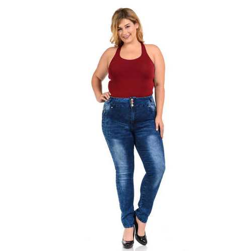 M.Michel Women's Jeans - Plus Size - High Waist - Push Up - Skinny - Style E235