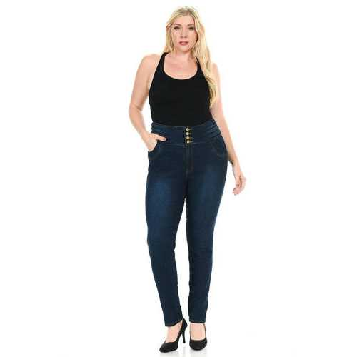 Pasion Women's Jeans - Plus Size - High Waist - Push Up - Skinny - Style N497