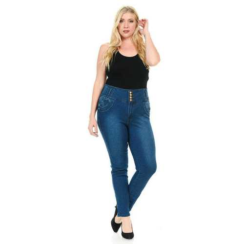 Pasion Women's Jeans - Plus Size - High Waist - Push Up - Skinny - Style N573X