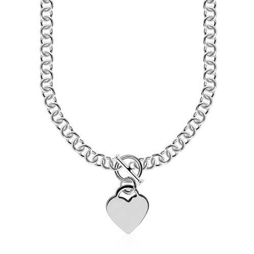 Sterling Silver Rolo Chain  with a Heart Toggle Charm and Rhodium Plating, size 18''