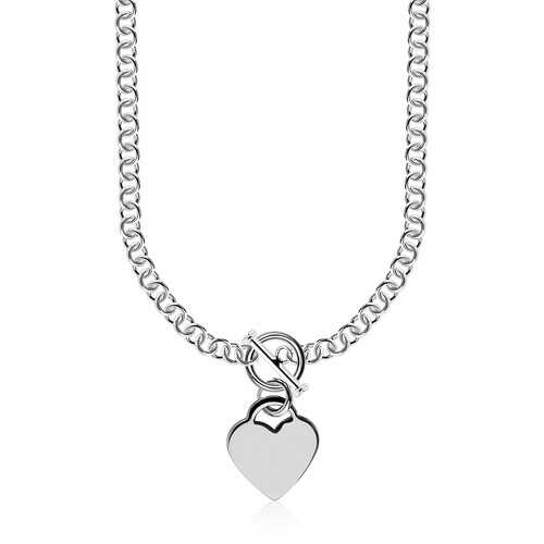 Sterling Silver Rhodium Plated Rolo Chain Necklace with a Heart Toggle Charm, size 18''