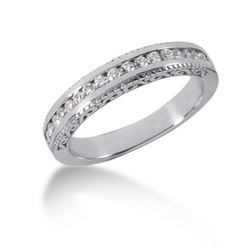 14K White Gold Vintage Style Engraved Diamond Channel Set Wedding Ring Band, size 8.5
