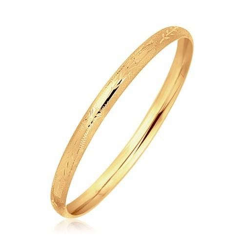 14k Yellow Gold Dome Style Children's Bangle with Diamond Cuts, size 5.5''