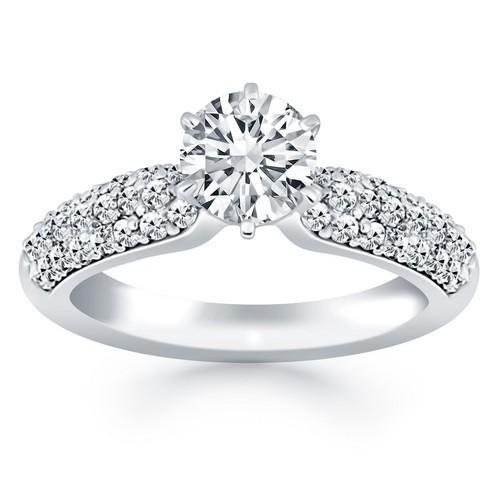 14K White Gold Triple Row Pave Diamond Engagement Ring, size 6.5