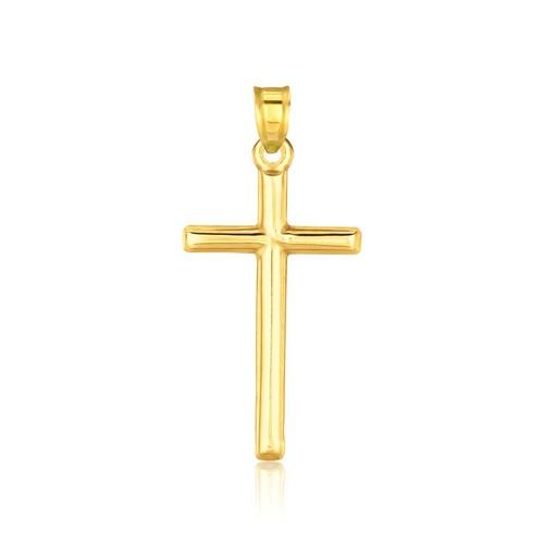 14K Yellow Gold High Polish Cross Pendant