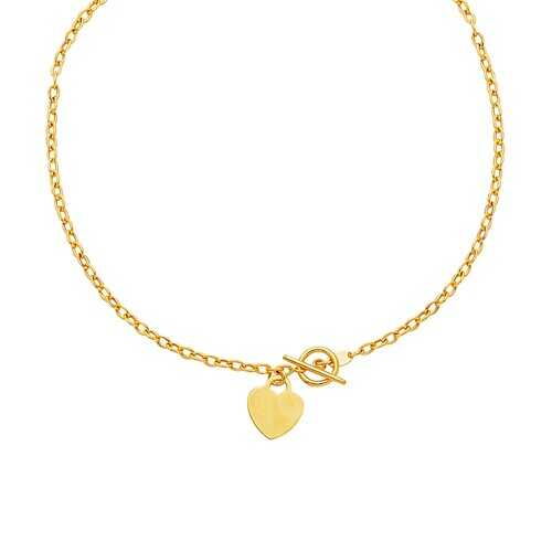 Toggle Necklace with Heart Charm in 14k Yellow Gold, size 17''