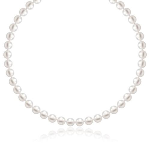 14k Yellow Gold Necklace with White Freshwater Cultured Pearls (6.0mm to 6.5mm), size 18''