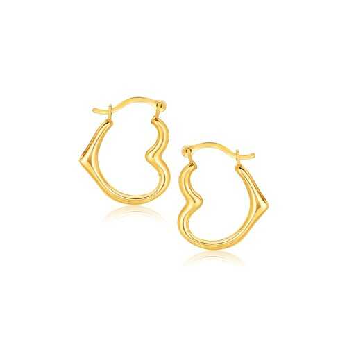 10k Yellow Gold Heart Hoop Earrings