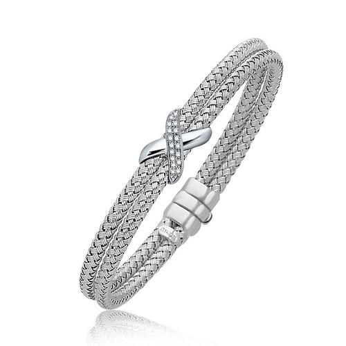 Diamond Accented X Station Weave Bangle in 14k White Gold (.17 cttw), size 7.25''