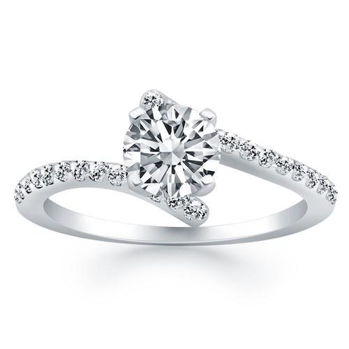 14K White Gold Open Shank Bypass Diamond Engagement Ring, size 4