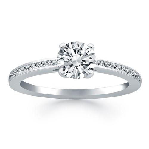 14k White Gold Channel Set Cathedral Engagement Ring, size 6.5