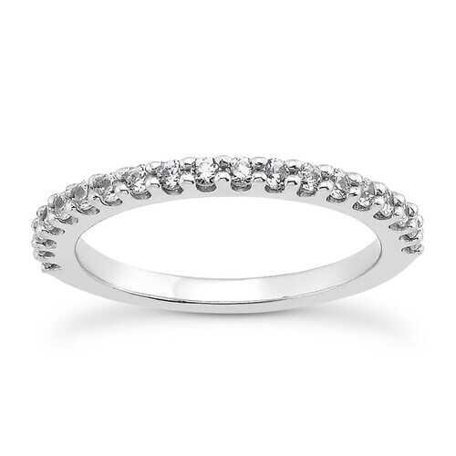 14K White Gold Shared Prong Diamond Wedding Ring Band with U Settings, size 7