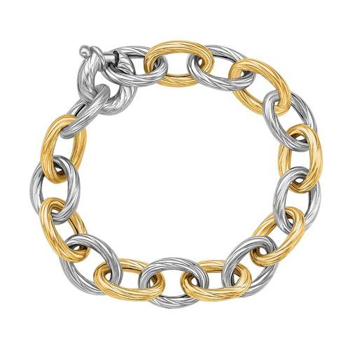 18k Yellow Gold and Sterling Silver Rhodium Plated Diamond Cut Chain Bracelet, size 7.75''