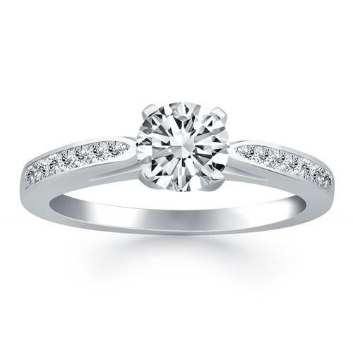 14k White Gold Cathedral Engagement Ring with Pave Diamonds, size 4