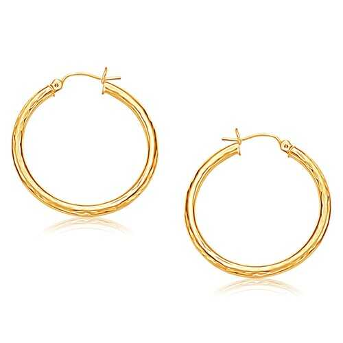 14k Yellow Gold Hoop Earring with Diamond-Cut Finish (30 mm Diameter)