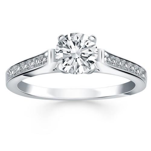 14K White Gold Pave Diamond Cathedral Engagement Ring, size 7.5