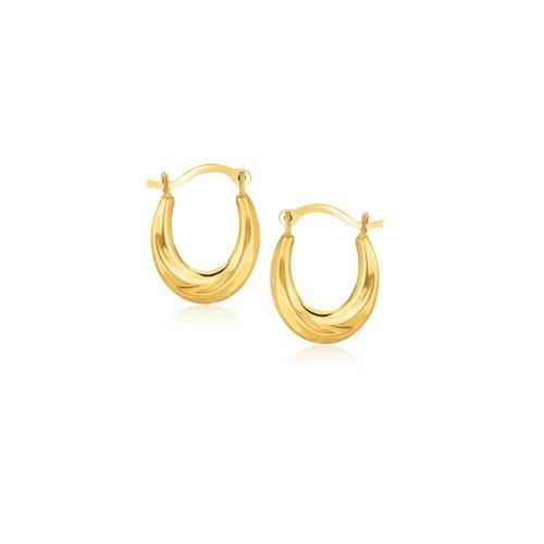 10k Yellow Gold Oval Hoop Earrings