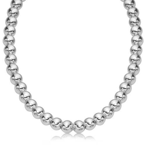 Sterling Silver Polished Bead Necklace with Rhodium Plating (10mm), size 18''