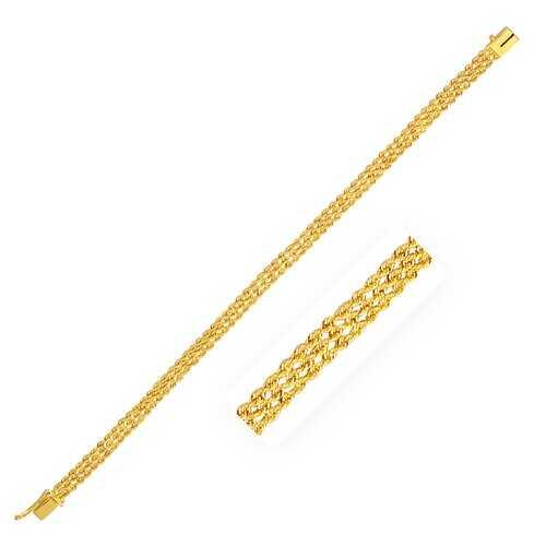4.5 mm 14k Yellow Gold Three Row Rope Bracelet, size 7''