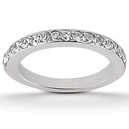 14k White Gold Pave Diamond Wedding Ring Band Set 1/2 Around, size 6.5