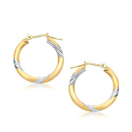 14k Two Tone Gold Polished Hoop Earrings (20 mm)