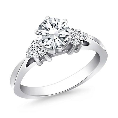 14k White Gold Cathedral Engagement Ring with Side Diamond Clusters, size 6