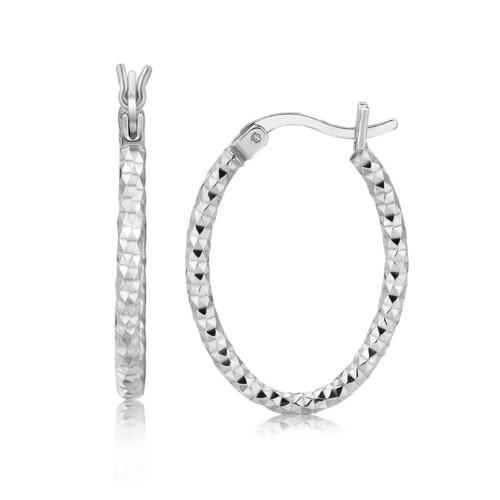 Sterling Silver Hoop Diamond Cut Texture Earrings with Rhodium Plating
